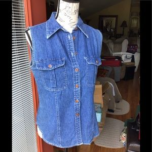 💙GAP - Women's Denim Sleeveless Button Down Top💙